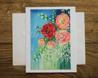 Flower Garden Greeting Card with Envelope / Print of Original Art / Art Print / Blank Greeting Card / Thank You Card / All Occasion