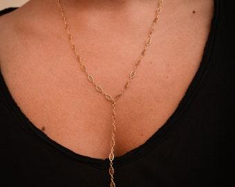 Y necklace, Long Lariat Necklace, Delicat necklace, Minimal Y Necklace, Layered Gold Necklace, Designed chain Gold fill 14K, Y Drop Necklace