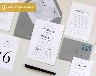 Printable Modern Wedding Invitation, Modern Marble Wedding Invitation Template, DIY Simple Wedding Invitations, Printable wedding invitation