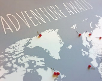 World Map With Pins, First Anniversary Gift for Him, Travel Map Husband Gift, World Travel Push Pin Map Poster 11x14 With Foam Core Board
