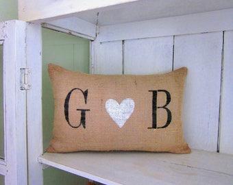 Burlap wedding pillow ,personalized  pillow, rustic wedding,custom pillow, wedding gift, gift for couple, farmhouse decor, anniversary gift,