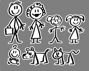 Stick People Car Decals Family Stick People Car Stickers