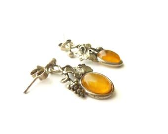 Silver and amber earrings - vintage earrings dangle boho Bohemian leaf vine grape - women gift