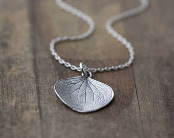 Large Silver Petal Pendant Necklace | Gardening Outdoors Gift | Sterling Silver Necklaces Gift for Women | Jewelry Jewellery Burnish