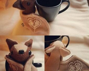 Flappuccino the coffee loving bat - Kawaii, plush, plushie, coffee bean, cappuccino, bat, coffee