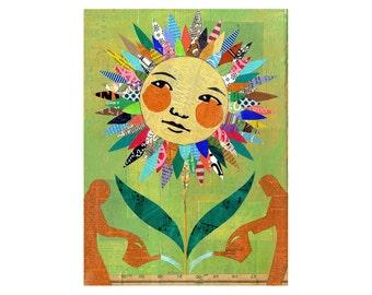 Flower Child Abstract Sunflower Daisy ORIGINAL PAINTING Collage Folk art Garden  by Elizabeth Rosen