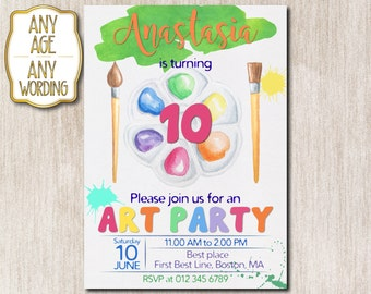 Art Party birthday invitation, Paint party invitation, Craft party invitation, 10th birthday invitation, Painting art party, ANY AGE - 1631