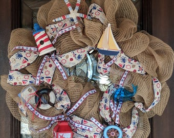 Nautical Mesh & Burlap Sailor Wreath