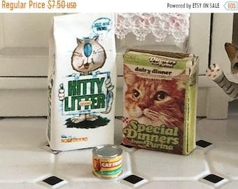 SALE Miniature Cat Products Set, Litter Bag, Cat Food Box and Can, 3 Piece Set, Dollhouse Miniature, 1:12 Scale, Dollhouse Decor, Accessorie
