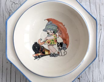 Vintage Royal Winton child's bowl. Sweet little girl with umbrella, dog and train. 1930s vintage bowl.