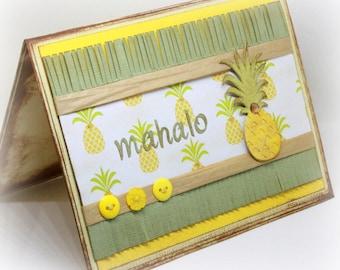 Mahalo Greeting Card - Pineapple Greeting Card - Thank You Greeting Card - Tropical Fruit Card - Hawaiian Card - Handmade Card