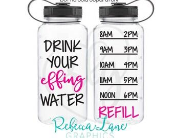 DIY DECALS: Drink your effing water + bottle  timeline