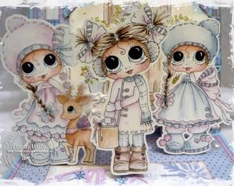 INSTANT DOWNLOAD Digi Stamps Big Eye Big Head Dolls Digi Bestie Winter Wonderland Girls By Sherri Baldy