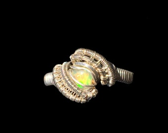 Fire Opal Ring Ethiopian Opal Ring Sterling Silver Opal Ring Bohemian Ring Opal Wire Wrap Ring Petite Ring
