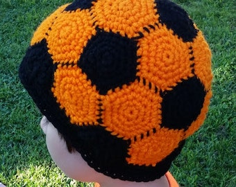 Soccer ball hat etsy colored soccer ball crochet hat beanie stocking cap toque pattern only baby child dt1010fo