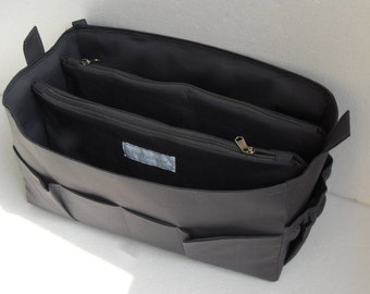 Extra taller Bag organizer for Tote Bag - Purse organizer insert with two divider zipper compartment  fits LV Neverful GM