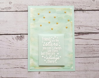 """Freunschafts-Map """"friends are like stars..."""" Handmade watercolor effect pastel mint/gold with envelope/envelope A6"""