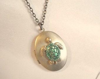 Turtle Locket Tortoise Necklace Turtle Locket Brass Vintage Locket Sea turtle Necklace Jewelry