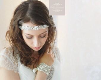MARIA Crystal and soft Ivory Pearl Bridal Headband