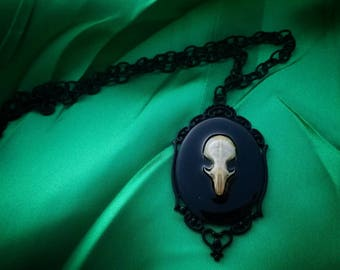 Gothic Cameo Mouse Skull Necklace