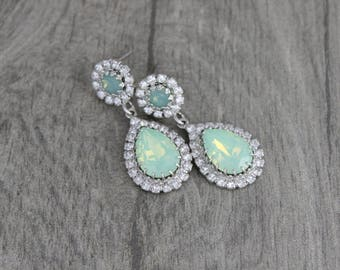Mint Green earrings, Green Opal earrings, Bridal earrings, Bridal jewelry, Wedding earrings, Swarovski crystal earrings, Teardrop earrings