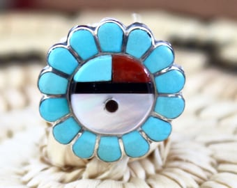 Native American, Vintage Zuni, Sterling Silver Sunface Ring Turquoise, Coral, Mother of Pearl
