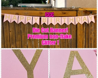 PINK AND GOLD Banner Gold Glitter Banner Simple Elegant Birthday