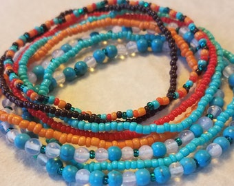 Seed bead bracelet, beaded bracelet, stretch bracelet, beaded jewelry, bracelet set of 8, stretch bracelet set, turquoise bracelet, boho