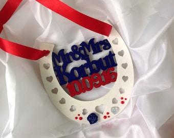 Wedding horsehoe, wedding gift, personalised wedding gift
