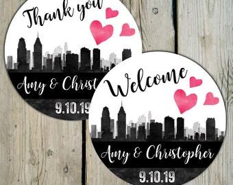 Philadelphia Skyline Favor Labels, Personalized Wedding Thank You Favor Stickers, City of Philly Wedding Stickers, Destination Wedding
