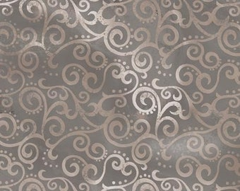 Quilting Treasures 'Ombre Scroll Silver' Fabric By The Yard; Ombre Scroll, 1649-24174-K