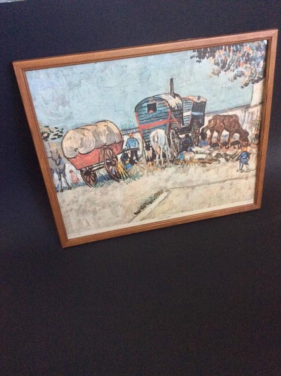 Vintage Van Gogh print Gypsy Camp, vintage Gypsy Camp print, Van Gogh print, Van Gogh Gypsy Camp print from 1960's on cardboard framed