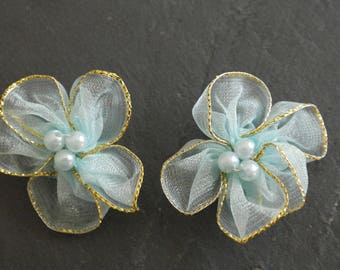 2 flowers light blue color satin for scrap fabric