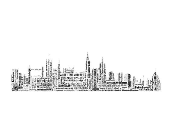London Skyline Typography Print Poster Map