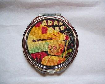 robot pocket mirror retro vintage compact 1950s tin toy art geek kitsch