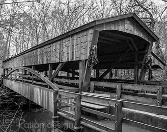 "Covered Bridge Photo, Wooden Bridge, Bridge Photo, Farmhouse Decor, Farmhouse Photo Print, Fine Art Photograph, 8""x10"" Photo Print"