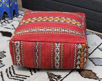 MOROCCAN KILIM POUF Pouffe Extra Large Floor Cushion Pillow Cover Handmade Handwoven 60 cm x 60 cm x 25 cm  / 25.6''x 25.6''x 10'' (KP27)