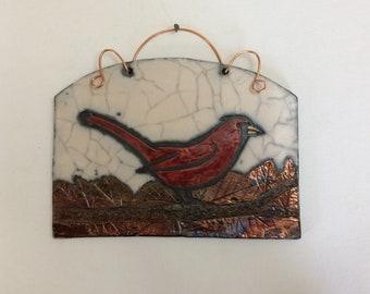Bird watching Cardinal Raku fired tile
