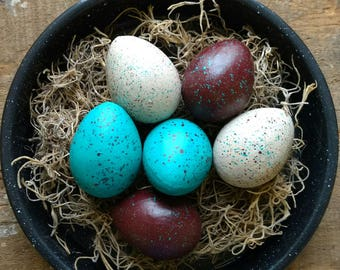 Paper Mache Easter Eggs - Teal/Chocolate