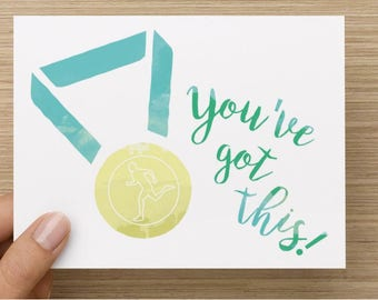 You've Got This - Hello And High Five greeting card for runner, triathlete, marathon, congratulations, blank inside