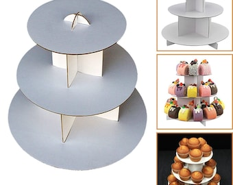 "10""x10"" White CUPCAKE STAND  3-Tier ROUND Dessert Tower Treat Stacked Pastry Serving Platter Food Display Birthday Party's"