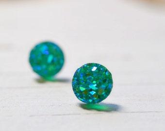 Tiny Teal Druzy Earrings, 8mm Round Druzy Earrings, Metallic Glitter Faux Drusy Posts Glittering Blue Green Stainless Steel Studs