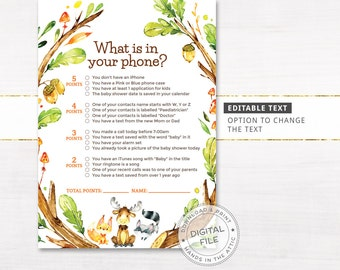 What is in your phone baby shower game, forest friends woodland creatures party, baby animals printable game, editable PDF, DIGITAL