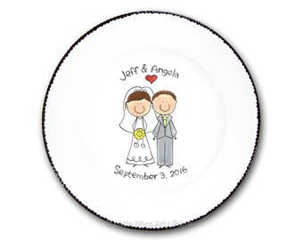 Free Shipping - Personalized Wedding Signature Plate - Cute Wedding Couple  - Guest Book Plate - Wedding Gift - Personalized Wedding Plate