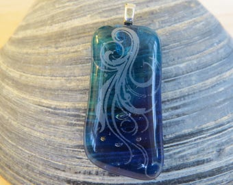 0034 - Blue with Silver Scrollwork Fused Glass Pendant