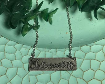 Metal etched blessed personalized pendant necklace or bracelet