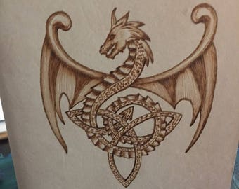 Refillable Leather Journal with Burned Celtic Dragon Design