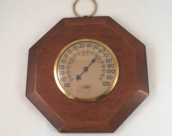 Cooper Temperature Thermometer, Real Wood with Brass Ring around Glass Cover and Ring for Hanging
