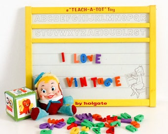 Vintage 1960s Learning Toy / Holgate Teach-a-Tot Magnetic Spelling Drawing Wipe-Off Board / Complete Letters Bonus Numbers
