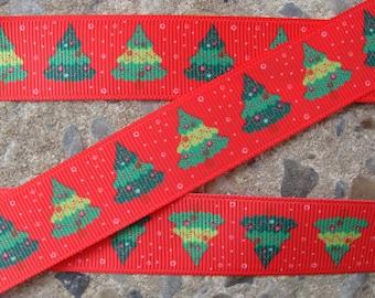 "7/8"" Christmas Tree Ribbon 4 yards Grosgrain Ribbon Hair Bow Ribbon Christmas Ribbon Winter ribbon Holiday Ribbon"